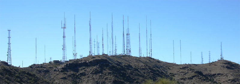 Broadcast antennas at South Mountain Park in Phoenix AZ