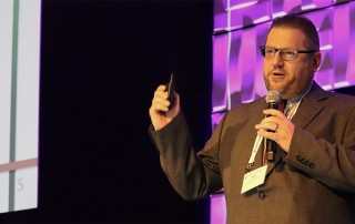 Hans Meyer presents his Challenge project at NAB Futures in Palo Alto, Calif.