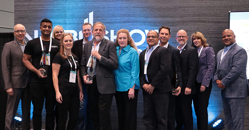 Picture: Winners of Pitch Prize with the judges and NAB CTO Sam Matheny. (Front row from left: Partha Ray and Chloe Kettell of PolyPort; John B. Casey and Bonnie Beeman of Airwavz.tv; and Ashok Sharma and Yannick Defrenne of Teamium)